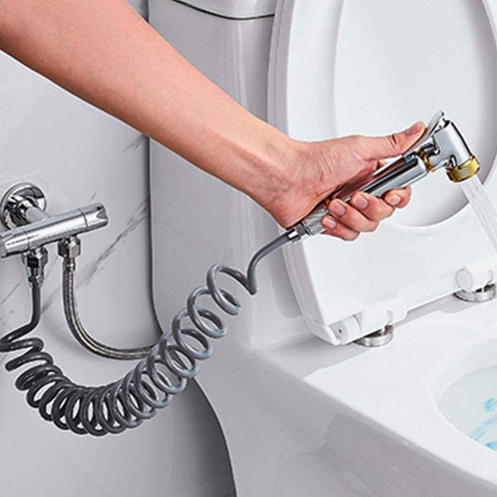 manguera de ducha flexible de resorte ABS para fontaner/ía de agua Inodoro Bidet Pulverizador Pistola Ba/ño,blanco Manguera de ducha