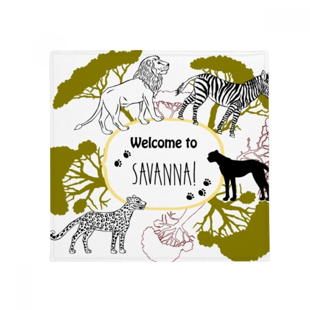 DIYthinker African Welcom to Savanna Zebra Leopard Wildlife Anti-Slip Floor Pet Mat Square Home Kitchen Door 80Cm Gift