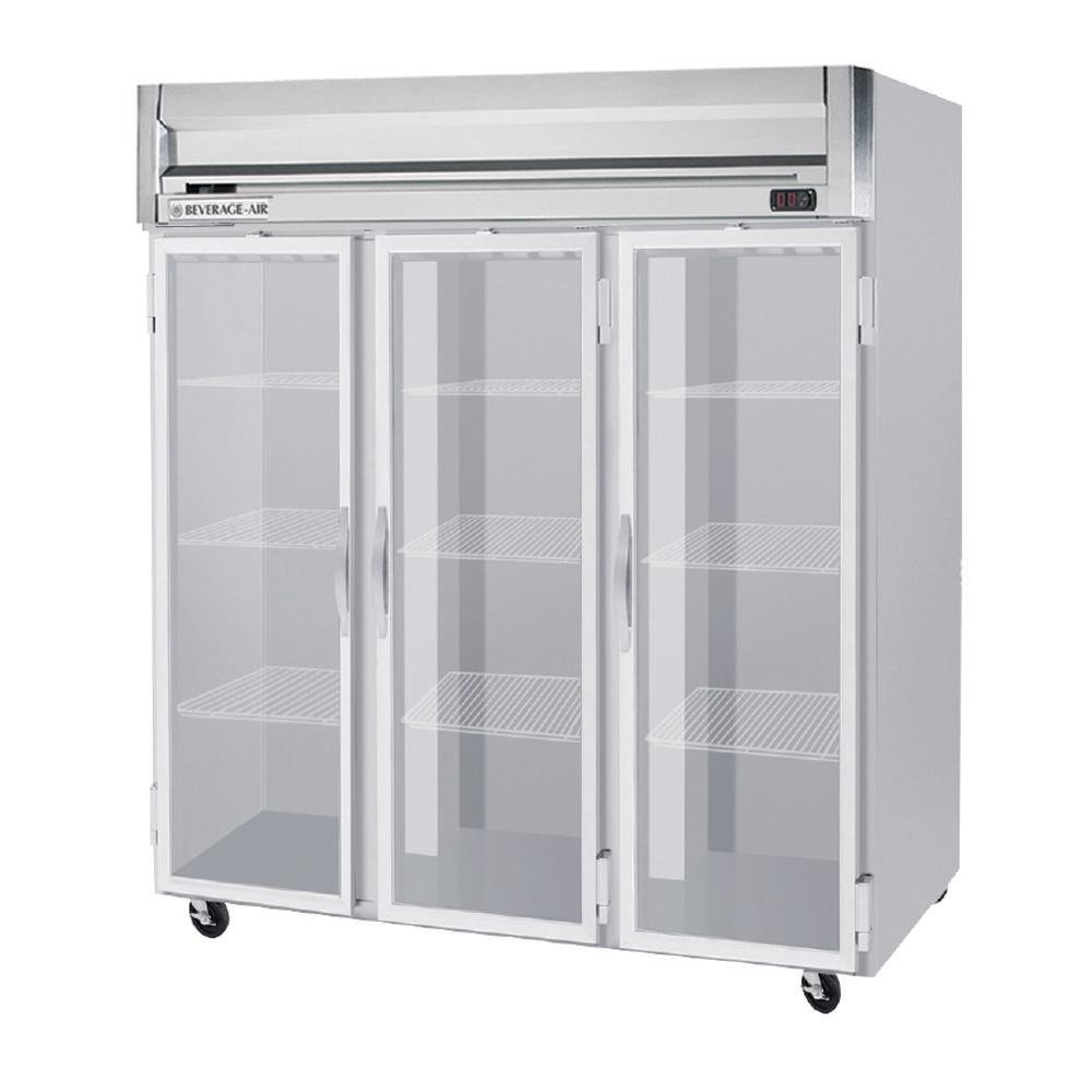 Beverage-Air HR3-1G 78'' Horizon Series Three Section Glass Door Reach-In Refrigerator 74 cu.ft. capacity Stainless Steel Front Gray Painted Sides Aluminum