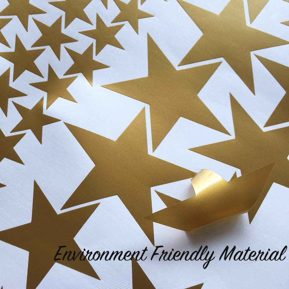 Easma Star Wall Decals 3 Size Stars-132pcs Decals Kids Nursery Wall Room Decor Peel and Stick Star Stickers
