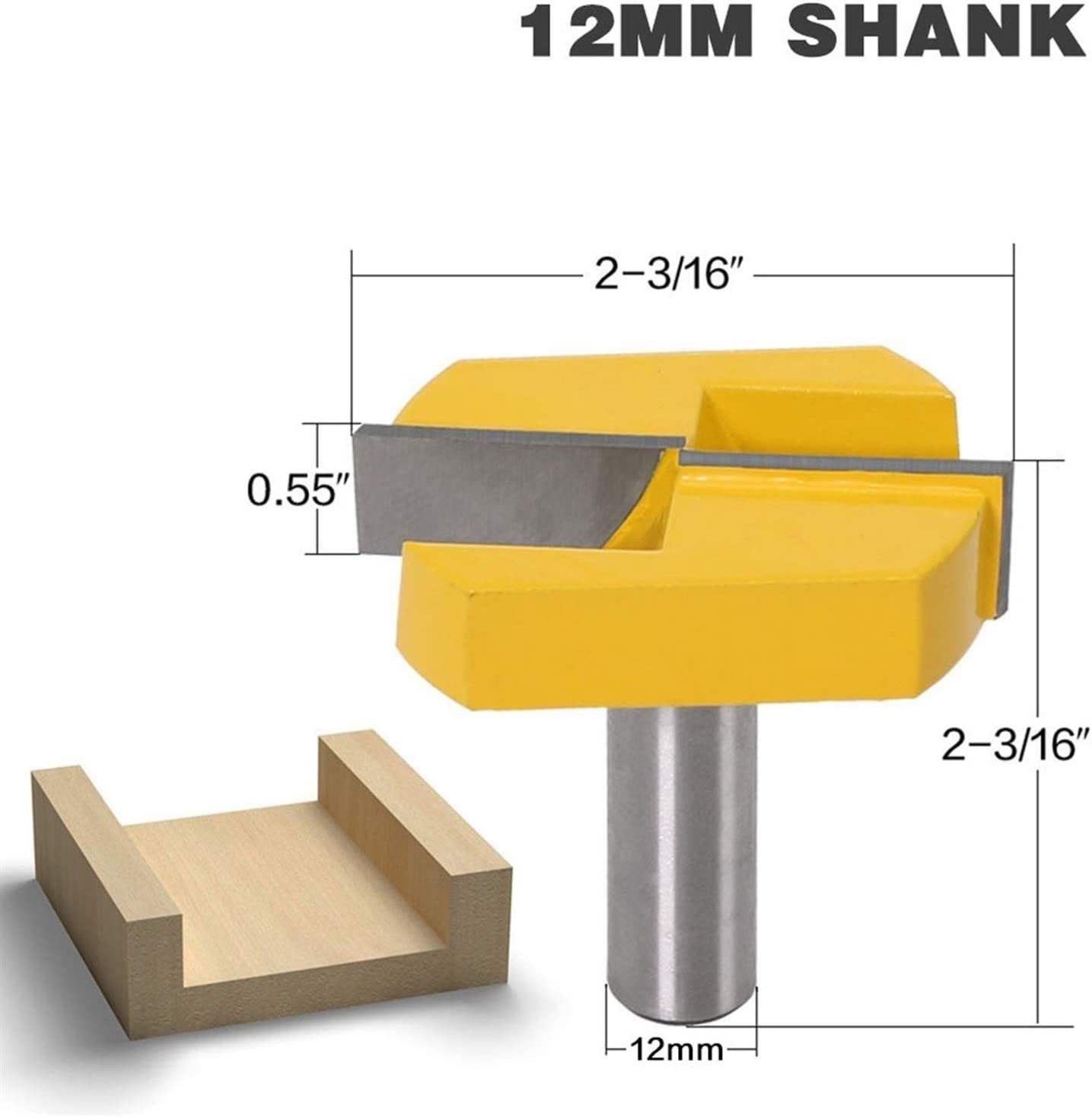 for Home /& DIY 12 Shank 2-3//16 Cutting Diameter for Surface Planing Router Bit Cleaning Bottom Router Bits Jinchao-Router bits
