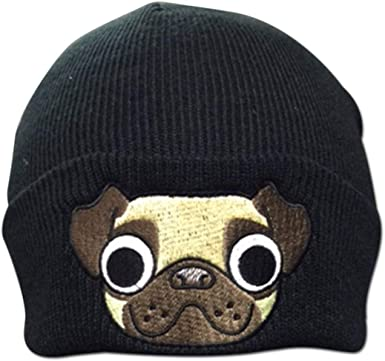 July flower Funny Lazy Pug,Women//Men Wool Hat Soft Stretch Beanies Skull Cap Black