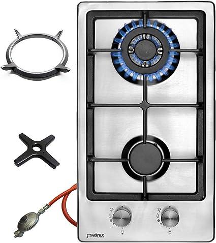 Phönix 102SBT - Cocina de gas de acero inoxidable con 2 fuegos, accesorio para wok y cruz de cocina