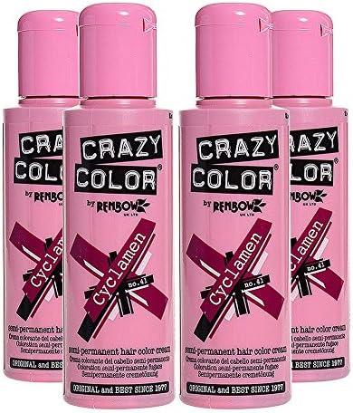 Pack De 4 x Tinte Capilar Semi-Permanente Crazy Color 100ml (Cyclamen)