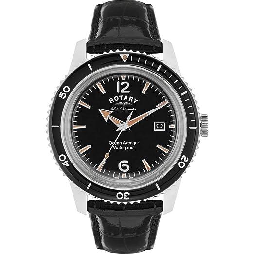 Rotary Relojes Hombre Suizo Océano Avenger Esfera Negra Reloj Correa De Cuero GS90095/04: Amazon.es: Relojes