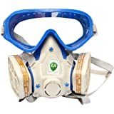 Babimax Safety Respirator Gas Mask Comprehensive Cover Paint Chemical Mask & Goggles Face Respirator Mask Pesticide Dustproof Fire Escape Breathing Apparatus (White)