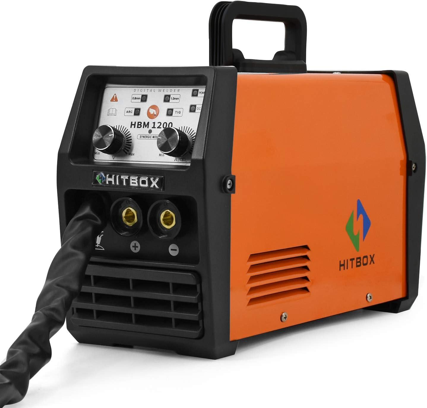 HITBOX Soldador MIG 120A 220V DC Mini inversor 40% Ciclo de trabajo Soldadura sin gas Máquina de soldadura con antorcha Mig Conexión a tierra 0.8mm Núcleo de flujo