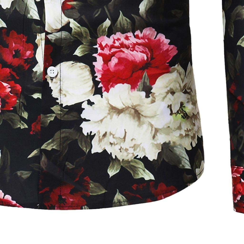 QUICKLYLY Camisa Hombre Manga Larga Estampada Flores//Ancla//Vintage//Regular Camisas Vestir Fiesta Slim Fit Cuello Mao,Moda Flor Impresi/ón Blusa Camisas Manga Larga Tops