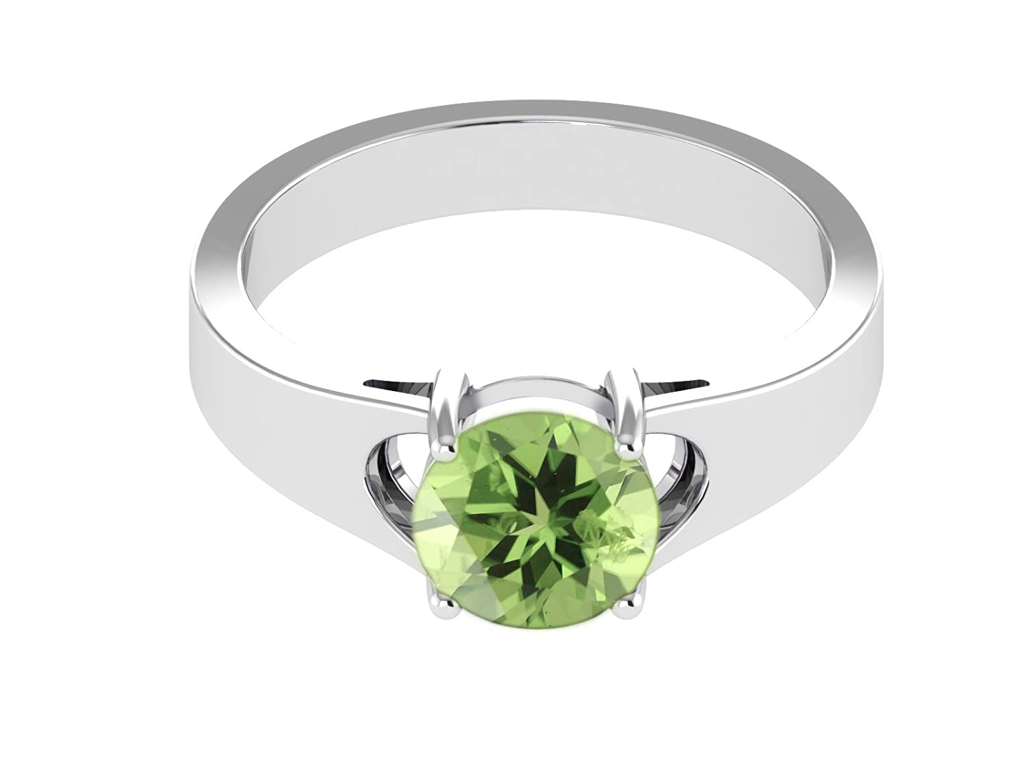 Peridot Gemstone 925 Sterling Silver Solitaire Thick Shank Women's Ring EH0VctUTHd