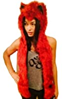 Red Wolf Faux Fur Animal Hats Hoods with Mittens Unisex Gloves Scarf with Paws