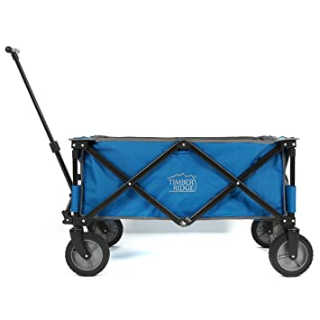 timberridge folding camping wagon garden cart collapsible blue