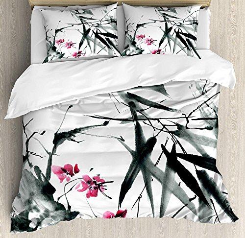 Japanese 4 Pcs Bedding Set Full Size, Natural Sacred Bamboo Stems Cherry Blossom Japanese Inspired Folk Print All Season Duvet Cover Bed Set, Dark Green Fuchsia