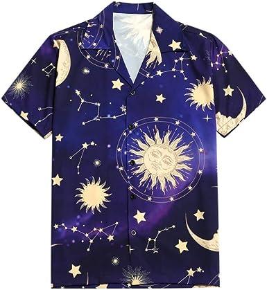 CAOQAO Camisa Hombre Manga Corta Hawaiana Casual Camisa con Estampado Sun Moon de Star, Camiseta de Vacaciones: Amazon.es: Ropa y accesorios
