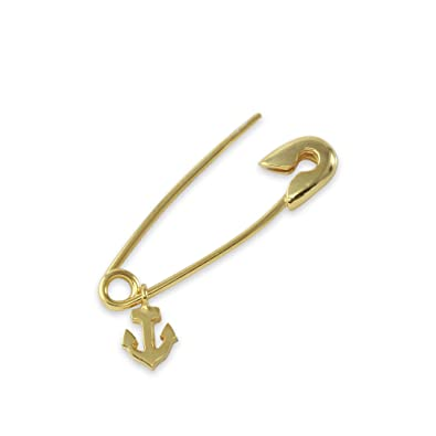 1d1d0391628 Amazon.com: 14K Gold Safety Pin With Charms (Anchor Charm, white ...