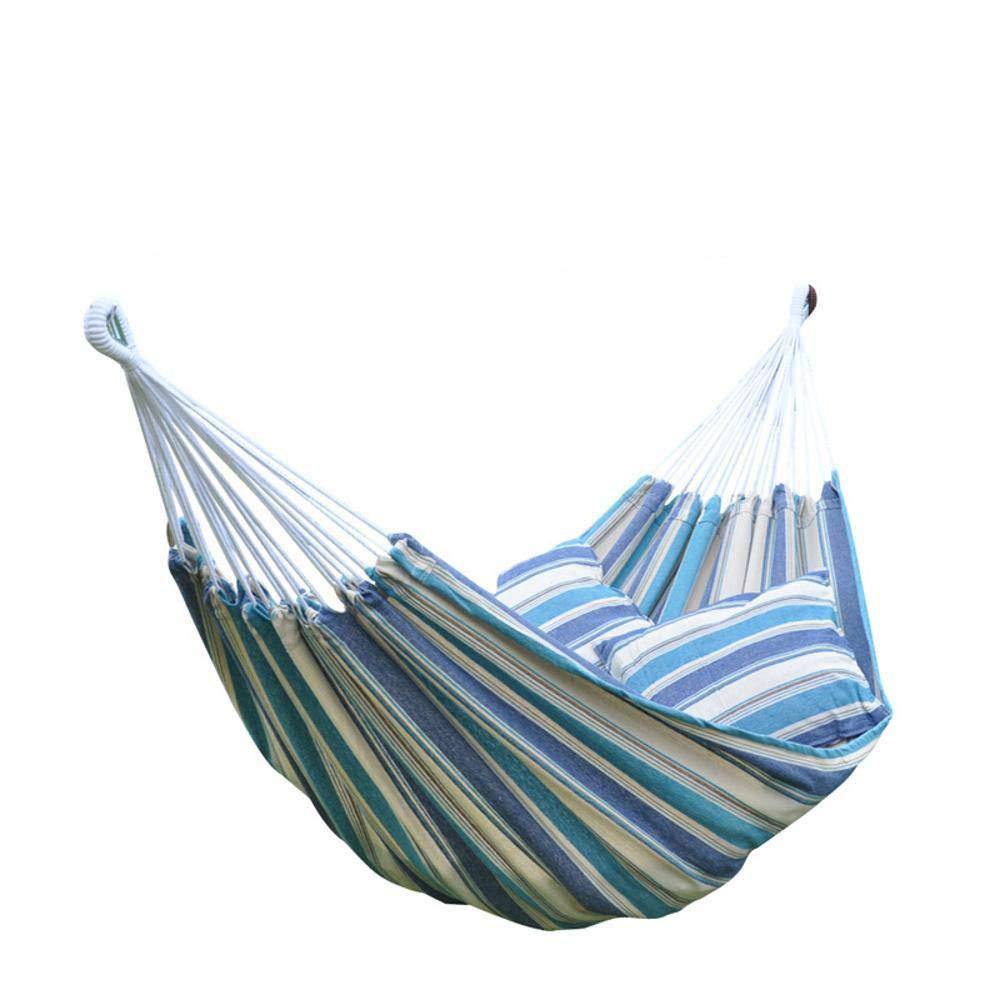 Y-YT Reise Camping Hängematte Doppel-farbige Baumwolle Hängematte 240  160cm mit Kissen Kissen