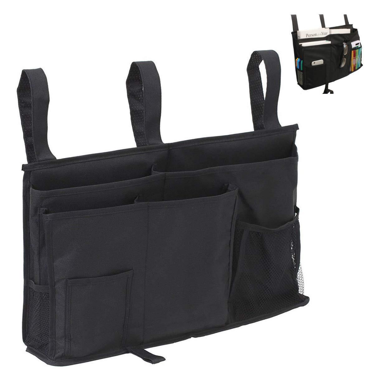 Unitnen Bedside Caddy, 8 Pockets Hanging Organizer Bedside Storage Bag Phone Magazine Holder for Bunk, Hospital Beds, College Dorm Rooms and Bed Rails (Black)