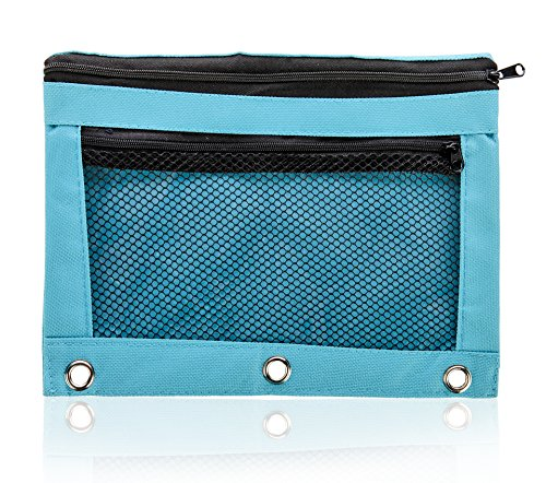 Pencil Bag with Zipper for Kids & Adults by Boona|3 Ring Binder Pouch for Fountain Pens|2 Compartments & Mesh Window|Canvas Organizer|Art Marker & Crayon Carrying Pouch|Washable (5 Pack of 6 colors) by KP Solutions (Image #2)
