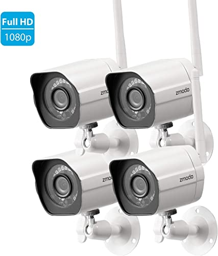 Zmodo 1080p Full HD Outdoor Wireless Security Camera System, 4 Pack Smart Home Indoor Outdoor WiFi IP Cameras with Night Vision, Compatible with Alexa