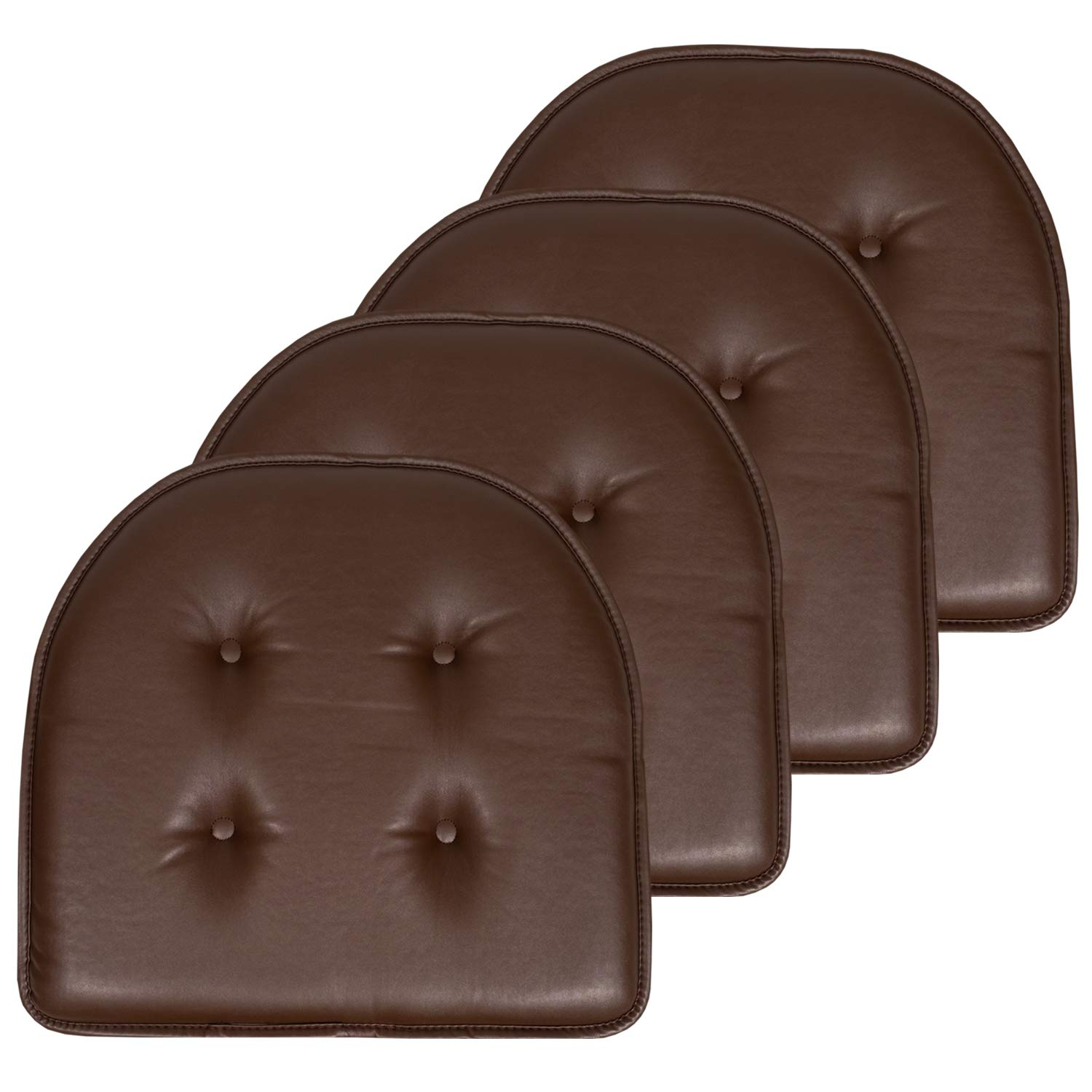"Sweet Home Collection Chair Cushion Memory Foam Pads Faux Leather Upholstered Tufted U Shaped Non-Slip Back 17"" x 16"" Seat Cover, 4 Pack, Chocolate Brown"