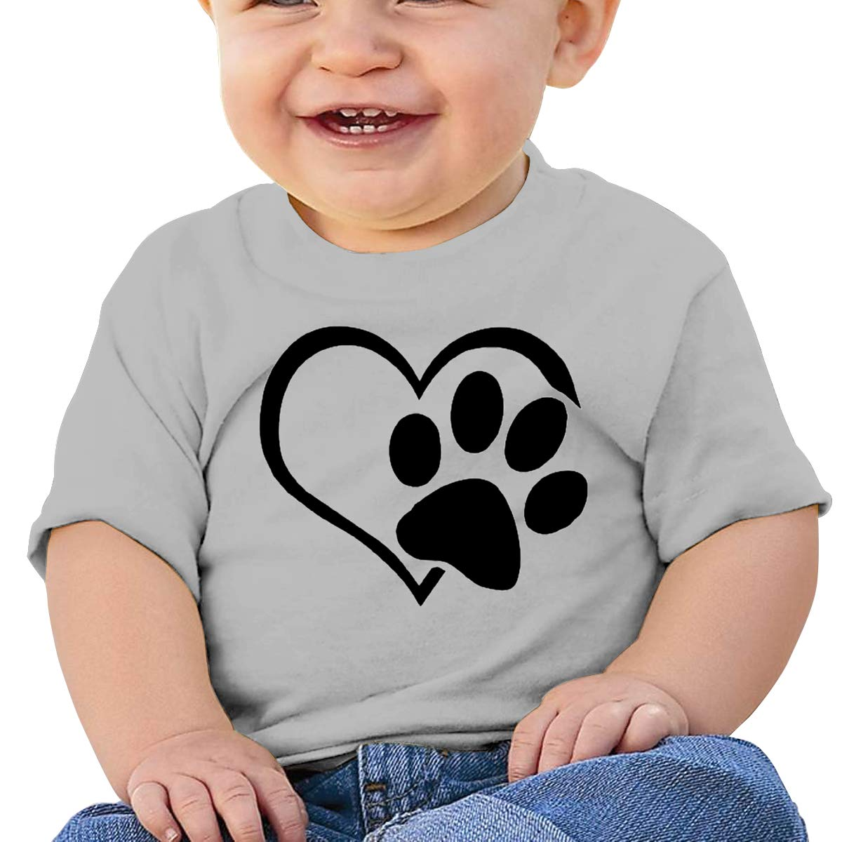 Dog-cat-paw-Heart Baby T-Shirt Toddler//Infant Cotton T Shirts Soft Clothes for 6M-2T Baby