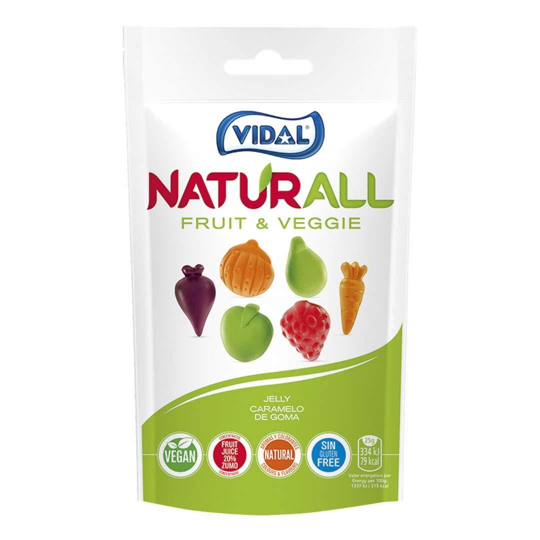 Vidal Golosinas Naturall Fruit & Veggie. Caramelo De Goma Vegano Sin Colorantes Y Aromas Naturales. Sabores De . Doypack, Frutas Y Verduras, 180 Gramo