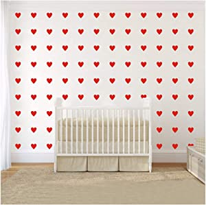 2 inch x100 Pieces DIY Heart Wall Decal Vinyl Sticker for Baby Kids Children Boy Girl Bedroom Decor Removable Nursery Decoration (Red)
