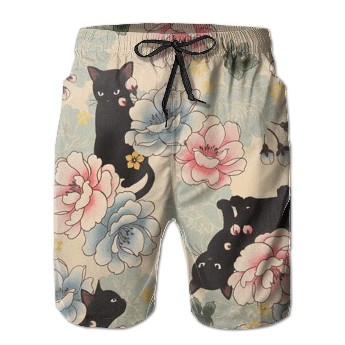 FRS Ltd Black Kitty with Peony Pattern Mens Quick Dry Beach Board Elastic Waist Shorts