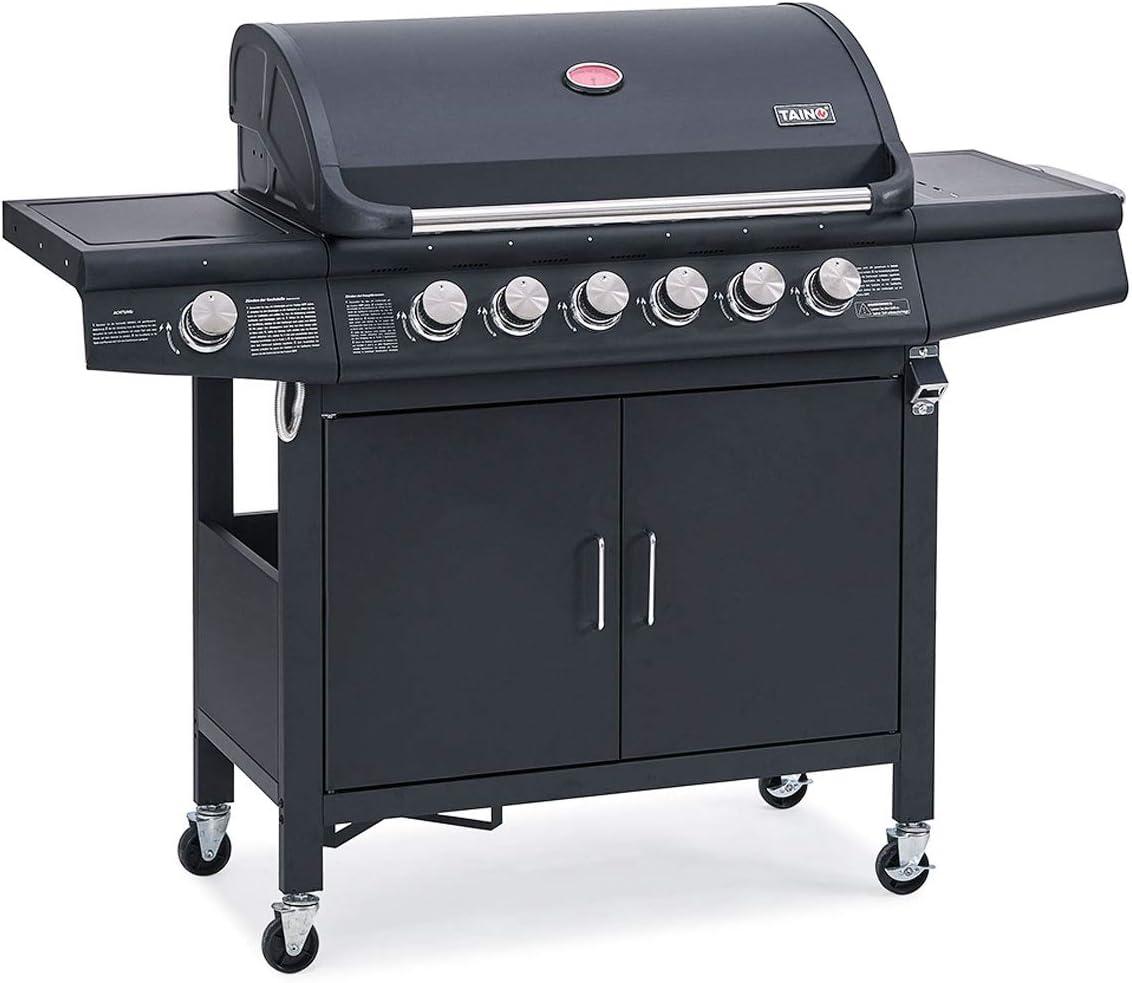 Gasgrill Edelstahl BBQ Grillwagen mit Seitenkocher