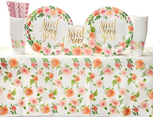 Floral Baby Party Supplies Guests