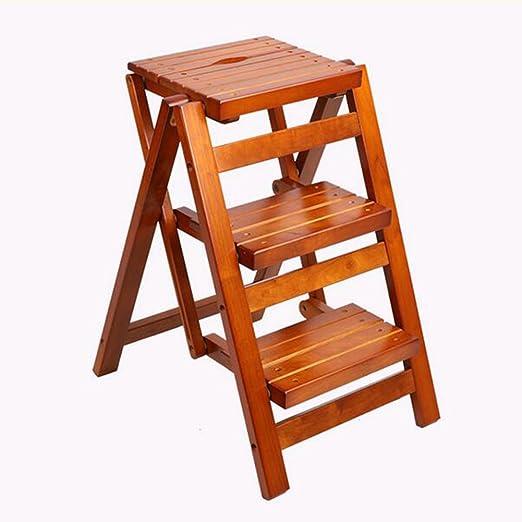 JJJJD Taburete de Madera Taburete multifunción Plegable Taburete Escalera de Cuero Importado Taburete Taburete de Almacenamiento Escalera de Oficina: Amazon.es: Hogar