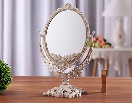 Tabletop mirror Antique Oval Table Top Mirror Dressing Table Mirror Vintage  Vanity Mirror Bedroom Bathroom Mirror - Amazon.com: Tabletop Mirror Antique Oval Table Top Mirror Dressing