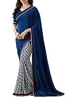 Nirjas Designer Women's Chiffon Saree With Blouse Piece (Prachi-1007 Navy Blue_A_Blue)