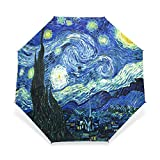 BAIHUISHOP Windproof Strong Frame Unbreakable Vincent Van Gogh Starry Night Pattern Golf Umbrella , Compact for Travel By Easy Carrying Sports Rain Umbrella