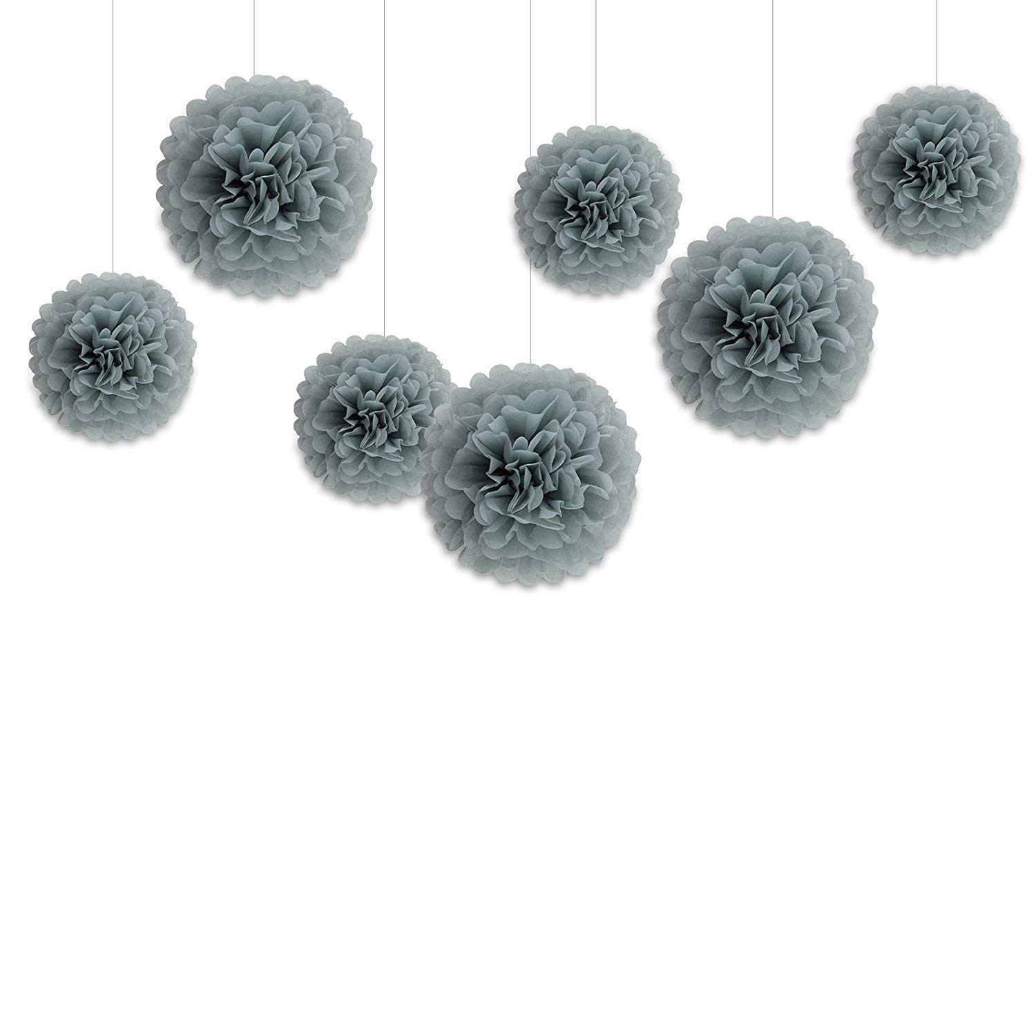Hanzen 5 Pcs Mixed 10'' 14'' Gray Tissue Paper Pom Poms Flower Balls for Birthday Wedding Party Baby Shower Outdoor Decorations (Gray)