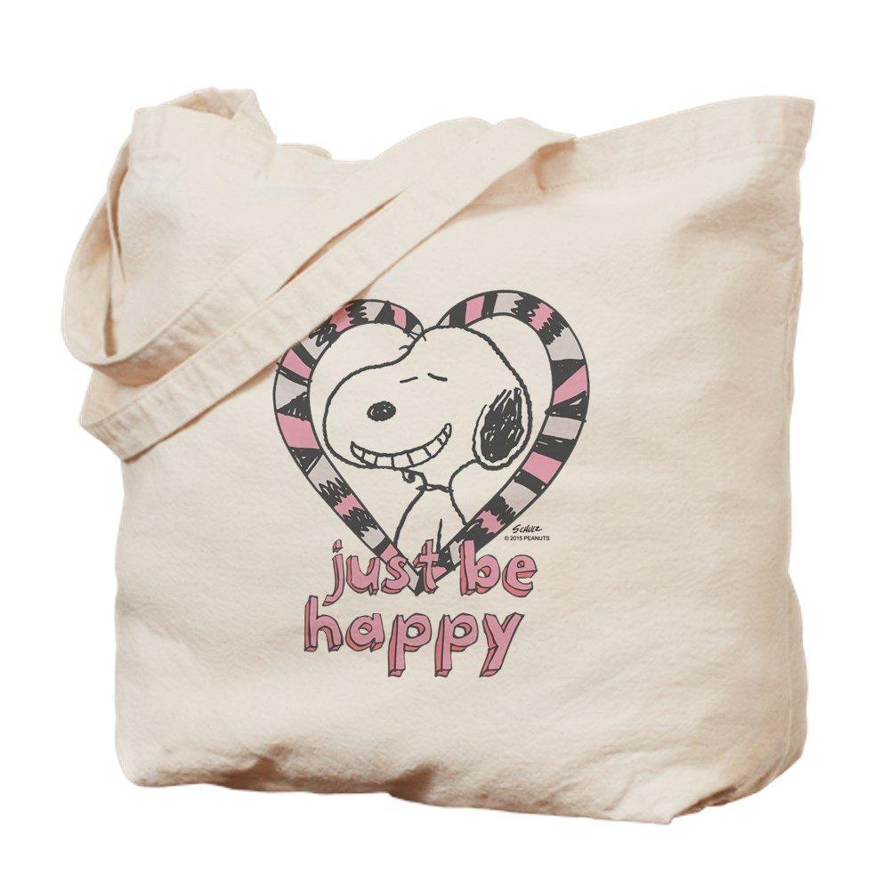 CafePress – Snoopy Just Be Happy – ナチュラルキャンバストートバッグ、布ショッピングバッグ M ベージュ 15874257346893C B015QFYMZM M