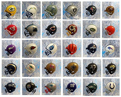 NFL FOOTBALL ORNAMENT SET of 32 MINI HELMET CHRISTMAS ORNAMENTS - NFL Football Team Helmet Ornament Set Consisting of 32 Team 2