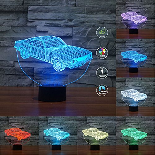 3D Illusion Muscle Car Shaped LED Table Desk Night Light,Soft Multi-colored Change for Home Bedroom Decorations, USB Powered or Battery Powered (Muscle Car) (3.42a Car)