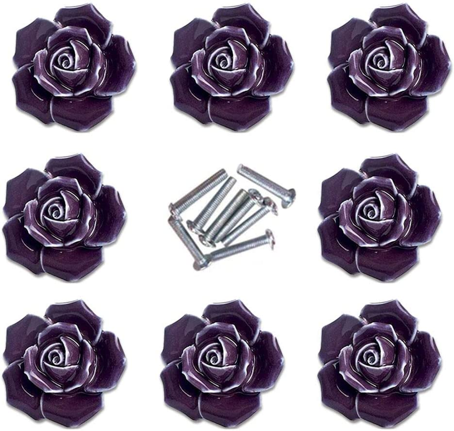 Handle Knobs, Elegant Pink Rose Pulls Flower Ceramic Cabinet Knobs Cupboard Drawer Pull Handles + Screw Furniture Handle knob Ornament(8 Pieces) (Purple) …