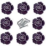 DLD Handle Knobs, Elegant Pink Rose Pulls Flower Ceramic Cabinet Knobs Cupboard Drawer Pull Handles + Screw Furniture Handle