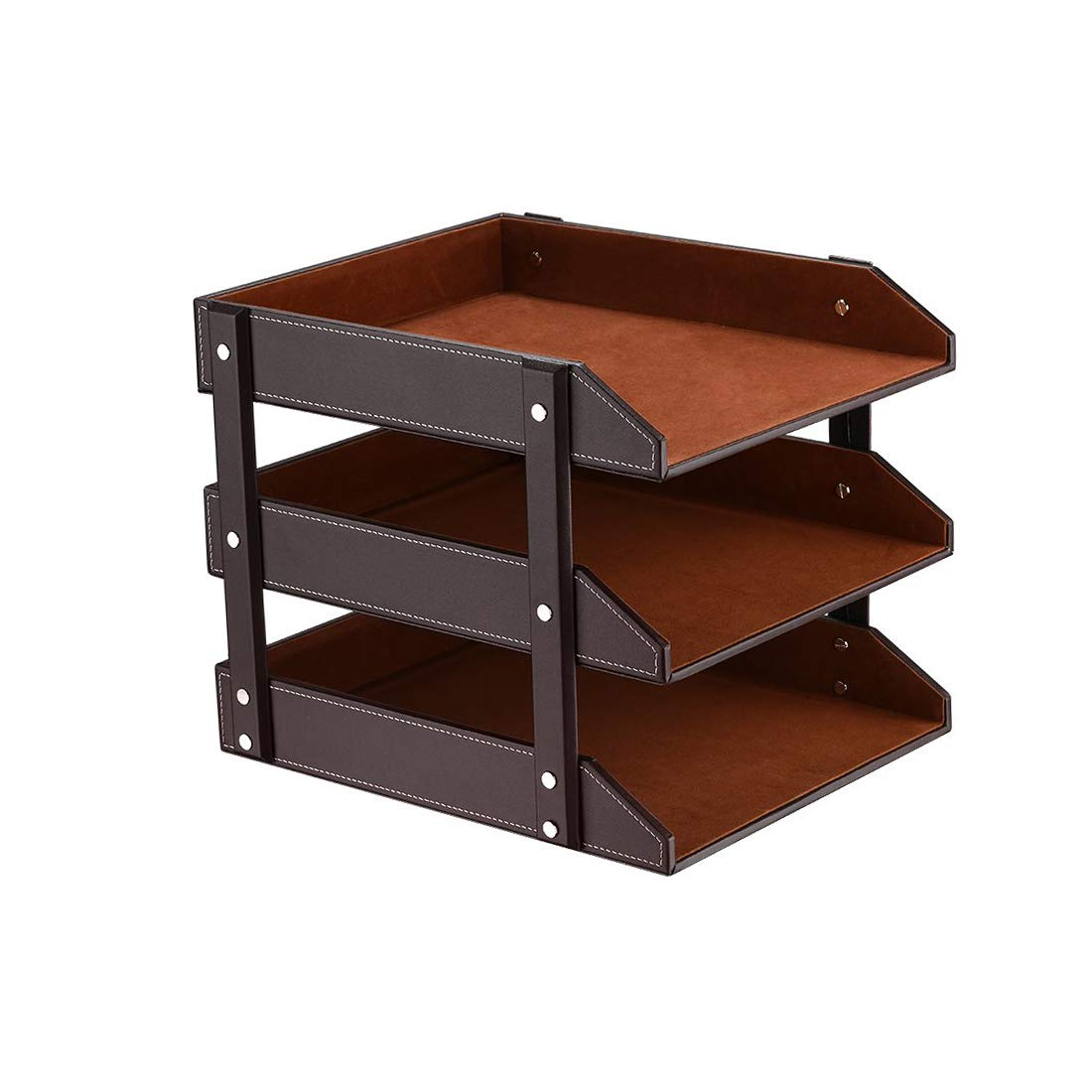 Desk 3 Tier File Document Letter Tray Organizer, Leather Office Supply Storage Holder for Desktop Storage Paper/Stationery/Magazine/Newspaper/Mail/Sundries (Brown) by PUSU