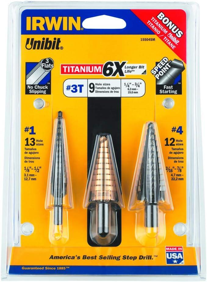 "Step Drill Bit UNIBIT 3//16/"" 1-1//8/"" 13 Hole Sizes 3//8/"" Shank"