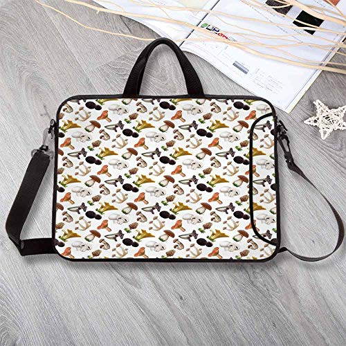 Mushroom Lightweight Neoprene Laptop Bag,Realistic Style Various Kinds of Fresh Toadstools Truffles Natural Lifestyle Cook Decorative Laptop Bag for Laptop Tablet PC,12.6