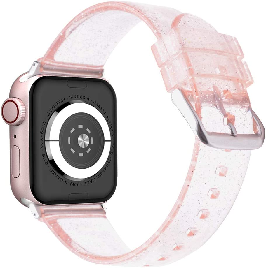 Wolait Compatible with Apple Watch Band 40mm 38mm, Premium Clear Glitter Soft Silicone Strap for iWatch Series 6 SE Series 5/4/3/2/1 Women Girls (38mm/40mm Pink)