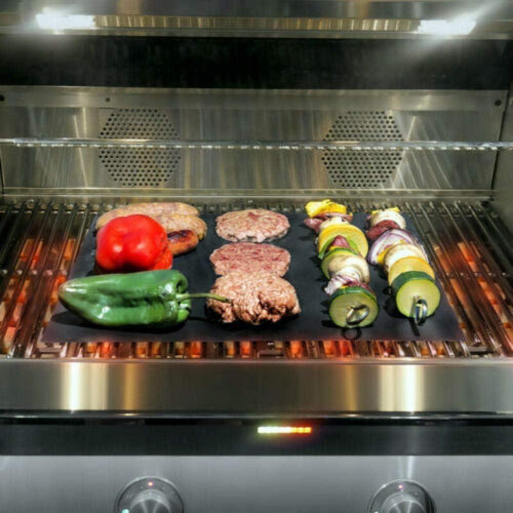 showsing Tapis de Cuisson Tapis BBQ Barbecue Plaque Feuille de Cuisson Four pour Barbecue gaz Charbon électrique 100% Anti-adhérent BBQ mat-Black4Pcs Black4Pcs