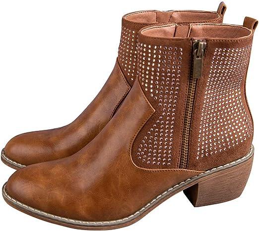 ღLILICATღ Botas Chelsea Botines tacón cuña para Mujer Otoño Invierno Moda Calzado Dama Remaches Cuero Botines con Cremalleras Bajos Zapatos Talla Grande Botas: Amazon.es: Jardín