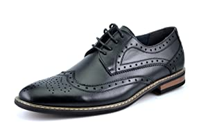 Bruno HOMME MODA ITALY PRINCE Men's Classic Modern Oxford Wingtip Lace Dress Shoes,PRINCE-3-BLACK,13 D(M) US