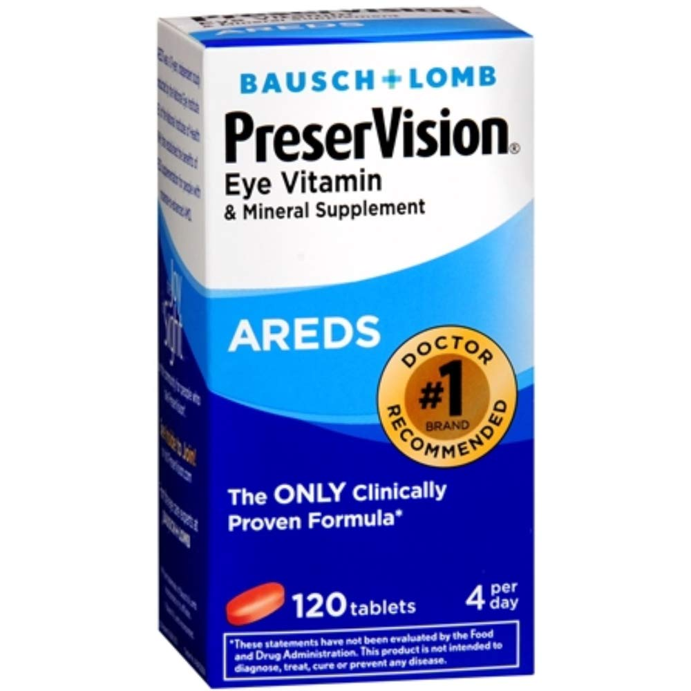 Bausch & Lomb Ocuvite PreserVision Tablets 120 Tablets (Pack of 12)