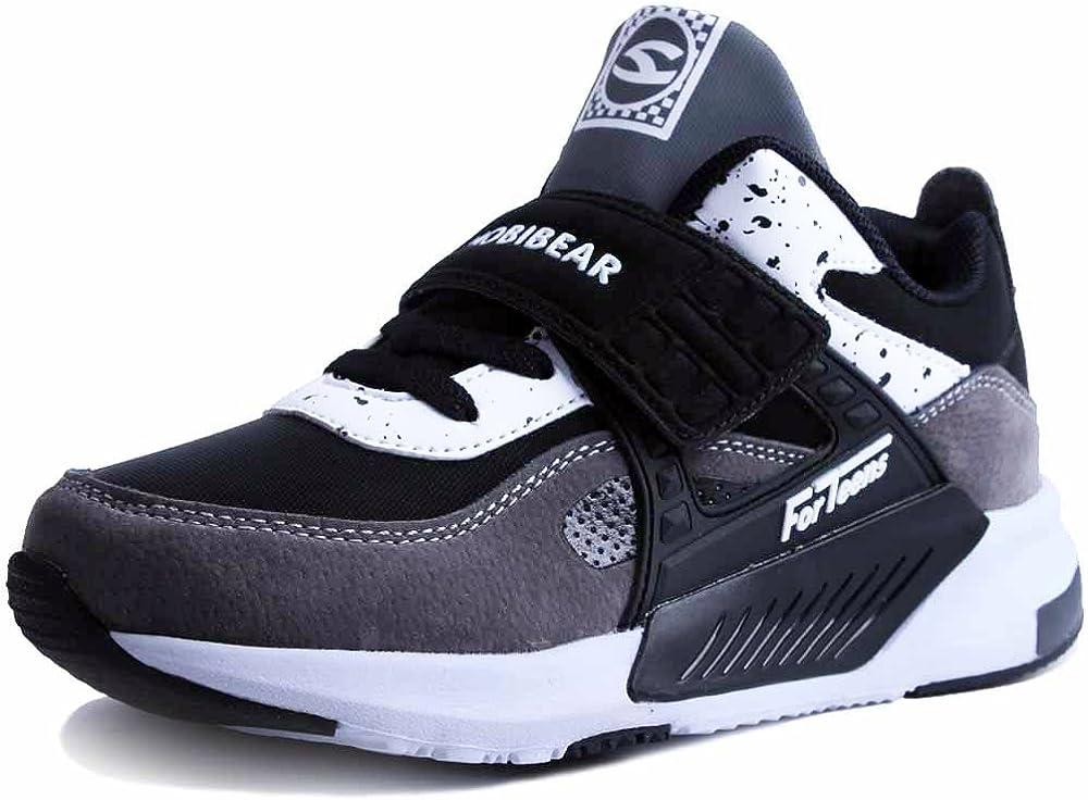 HAP JUMP Sneakers Enfant Baskets Montantes Garcon Chaussure de Course Mode Garcon Fille Sport Running Shoes Competition Entrainement Noir blanc 32