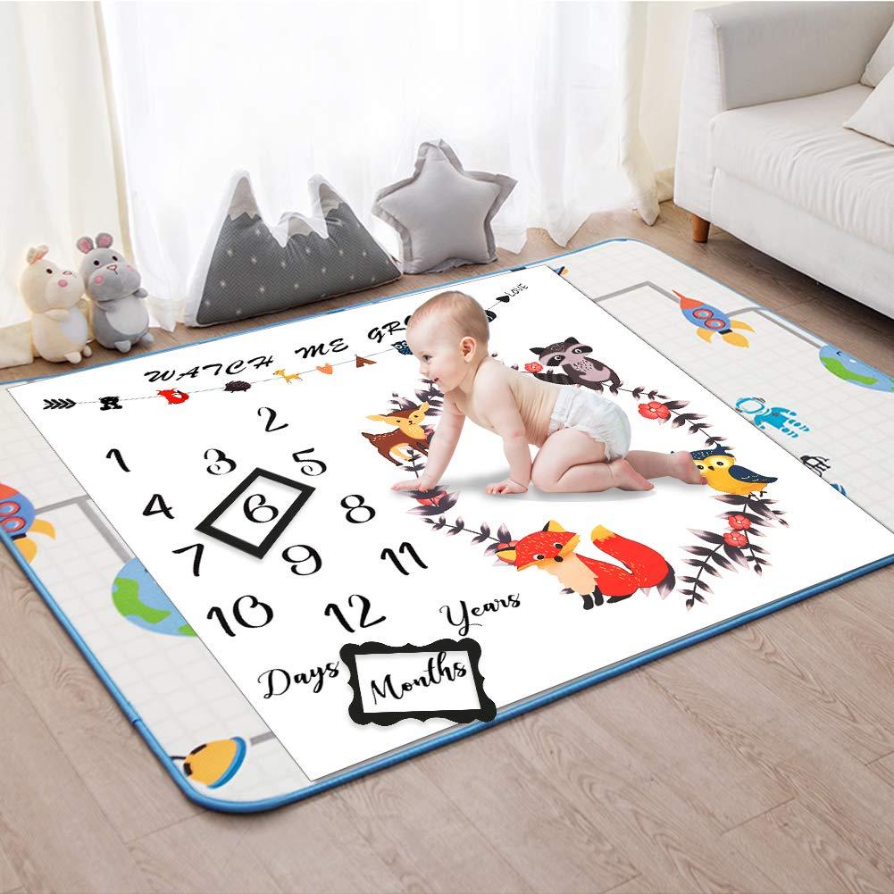 Couverture Mensuel B/éb/é Animaux For/êt Nouveau-n/é Mensuel Milestone Baby Photo Couverture Cadeaux Douche pour Gar/çons ou Filles