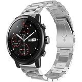 zolimx correas de Acero Inoxidable Reloj Banda Hebilla de Metal para Xiaomi Huami Amazfit Stratos 2